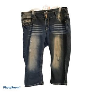 Reign distressed capris jeans